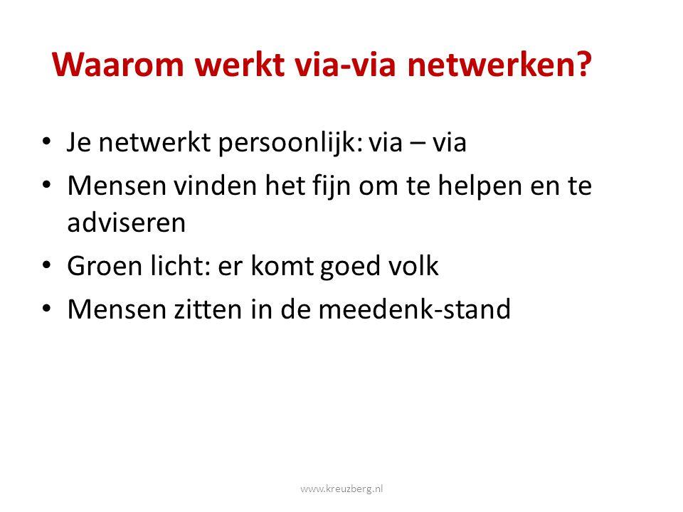 Waarom werkt via-via netwerken? Je netwerkt persoonlijk: via – via Mensen vinden het fijn om te helpen en te adviseren Groen licht: er komt goed volk