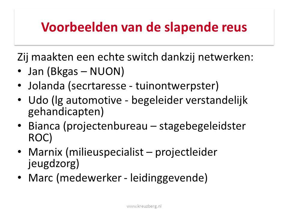 Voorbeelden van de slapende reus Zij maakten een echte switch dankzij netwerken: Jan (Bkgas – NUON) Jolanda (secrtaresse - tuinontwerpster) Udo (lg au