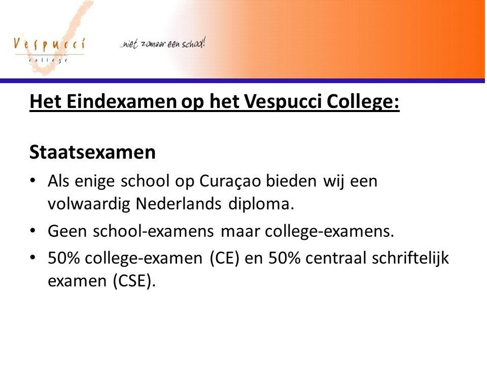 Het Eindexamen op het Vespucci College: Staatsexamen Als enige school op Curaҫao bieden wij een volwaardig Nederlands diploma. Geen school-examens maa