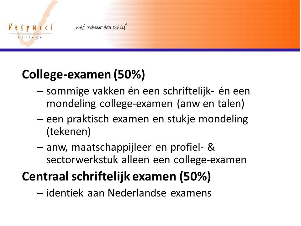 College-examen (50%) – sommige vakken én een schriftelijk- én een mondeling college-examen (anw en talen) – een praktisch examen en stukje mondeling (