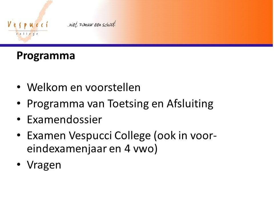 Programma Welkom en voorstellen Programma van Toetsing en Afsluiting Examendossier Examen Vespucci College (ook in voor- eindexamenjaar en 4 vwo) Vrag