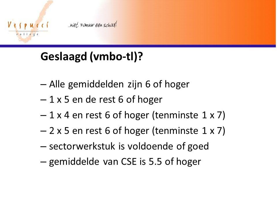 Geslaagd (vmbo-tl)? – Alle gemiddelden zijn 6 of hoger – 1 x 5 en de rest 6 of hoger – 1 x 4 en rest 6 of hoger (tenminste 1 x 7) – 2 x 5 en rest 6 of