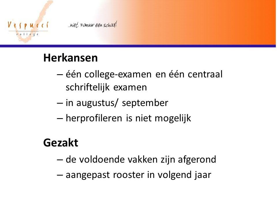 Herkansen – één college-examen en één centraal schriftelijk examen – in augustus/ september – herprofileren is niet mogelijk Gezakt – de voldoende vak