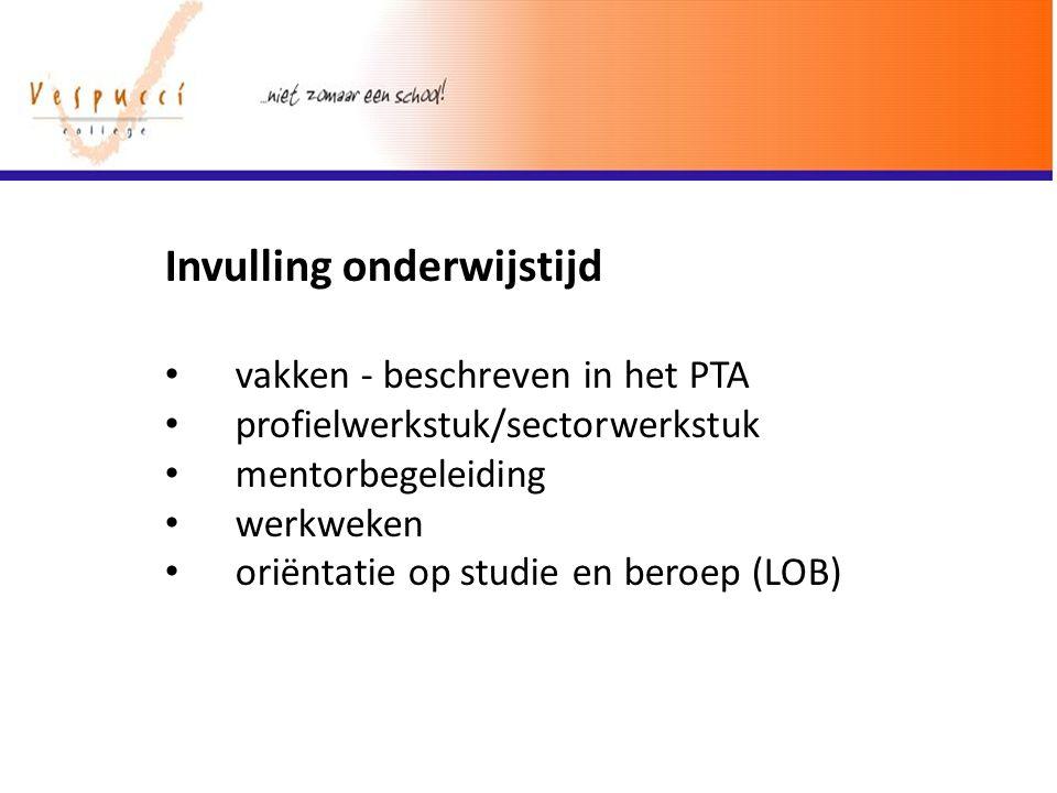 Invulling onderwijstijd vakken - beschreven in het PTA profielwerkstuk/sectorwerkstuk mentorbegeleiding werkweken oriëntatie op studie en beroep (LOB)