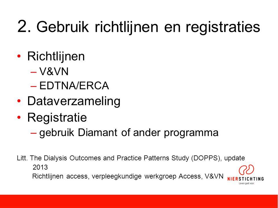 2. Gebruik richtlijnen en registraties Richtlijnen –V&VN –EDTNA/ERCA Dataverzameling Registratie –gebruik Diamant of ander programma Litt. The Dialysi