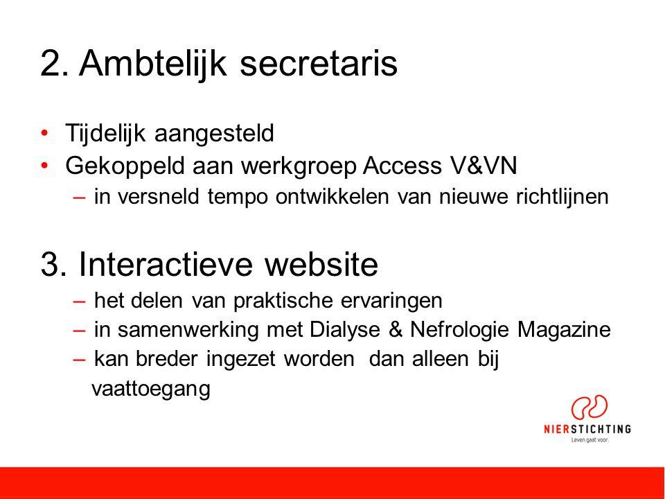 2. Ambtelijk secretaris Tijdelijk aangesteld Gekoppeld aan werkgroep Access V&VN –in versneld tempo ontwikkelen van nieuwe richtlijnen 3. Interactieve