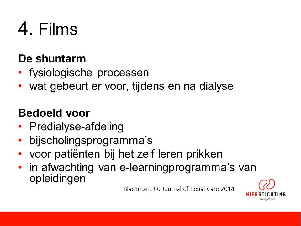 4. Films De shuntarm fysiologische processen wat gebeurt er voor, tijdens en na dialyse Bedoeld voor Predialyse-afdeling bijscholingsprogramma's voor