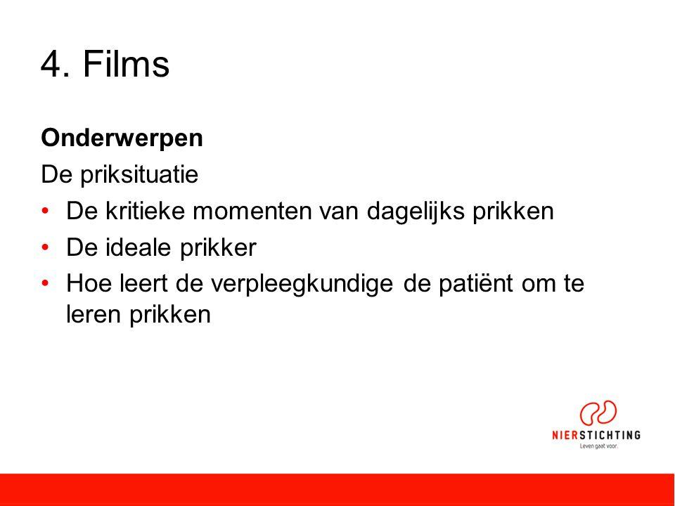4. Films Onderwerpen De priksituatie De kritieke momenten van dagelijks prikken De ideale prikker Hoe leert de verpleegkundige de patiënt om te leren