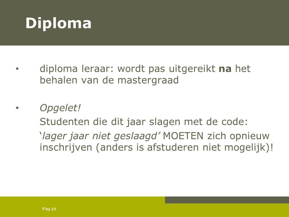 Pag.19 Diploma diploma leraar: wordt pas uitgereikt na het behalen van de mastergraad Opgelet.