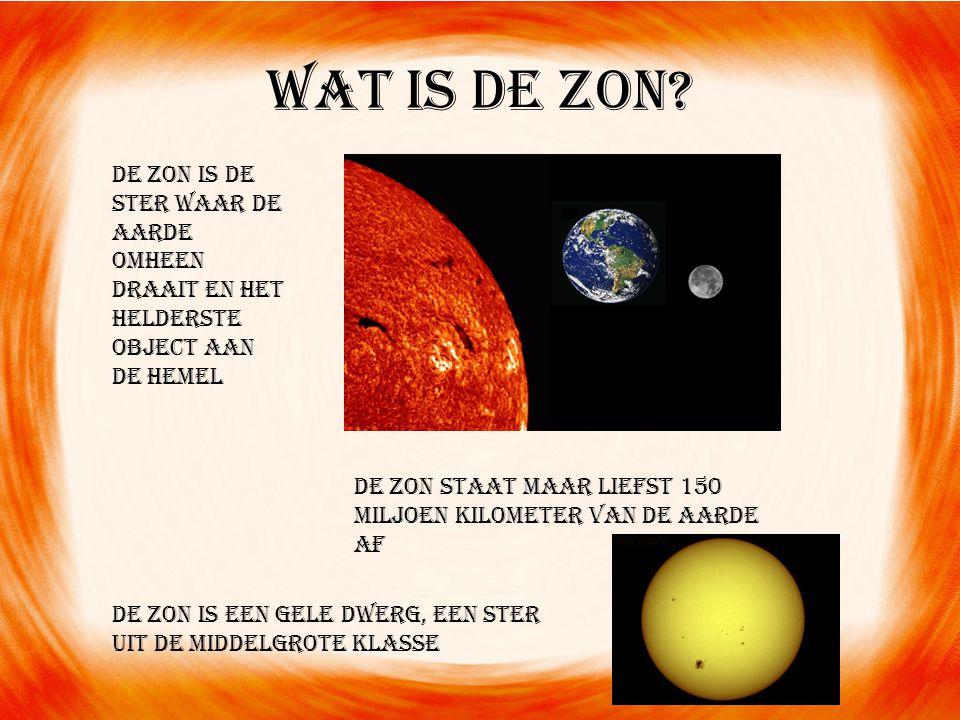 Wat is de zon.De zon bestaat uit 75 % waterstof en 25% helium.