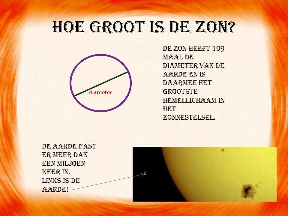 Hoe groot is de zon? De aarde past er meer dan een miljoen keer in. Links is de Aarde! De zon heeft 109 maal de diameter van de aarde en is daarmee he