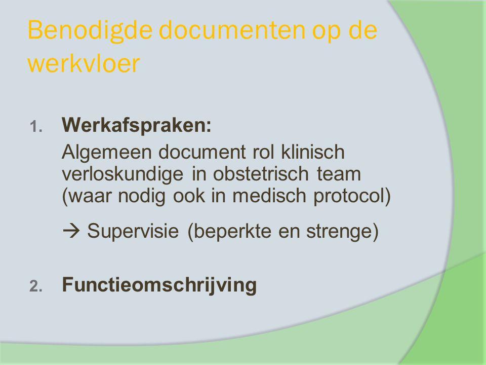 Benodigde documenten op de werkvloer 1. Werkafspraken: Algemeen document rol klinisch verloskundige in obstetrisch team (waar nodig ook in medisch pro