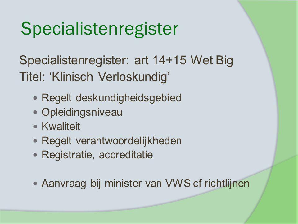 Specialistenregister Specialistenregister: art 14+15 Wet Big Titel: 'Klinisch Verloskundig' Regelt deskundigheidsgebied Opleidingsniveau Kwaliteit Reg