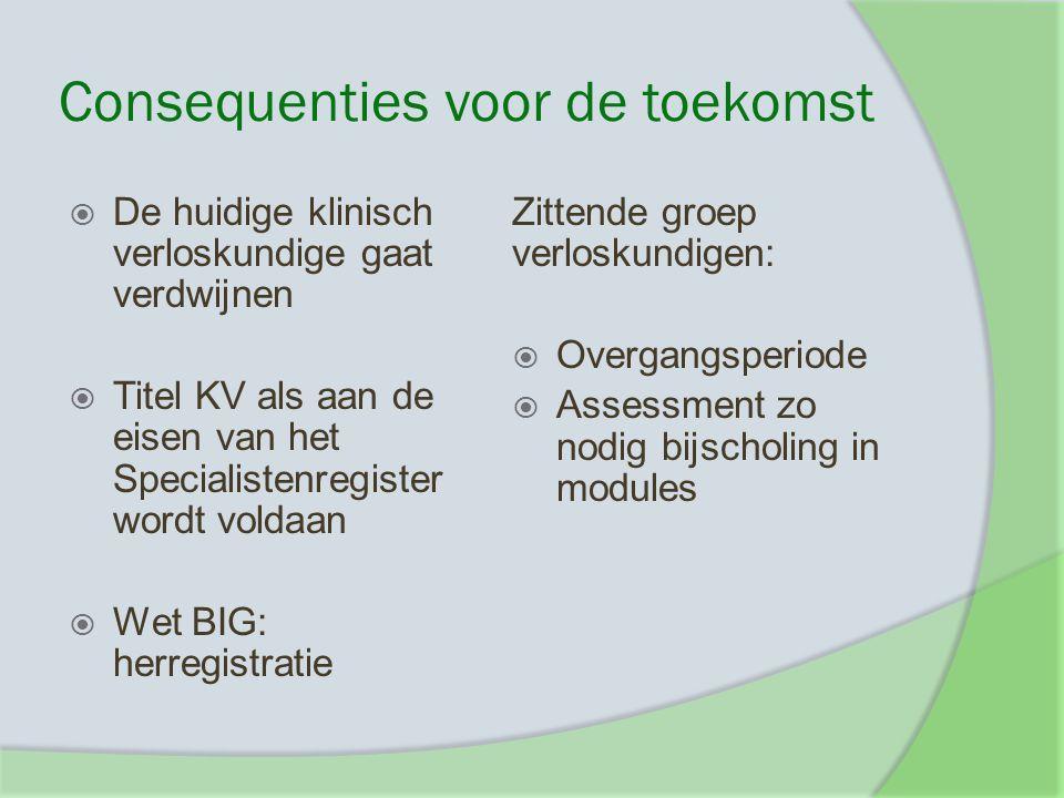 Consequenties voor de toekomst  De huidige klinisch verloskundige gaat verdwijnen  Titel KV als aan de eisen van het Specialistenregister wordt vold