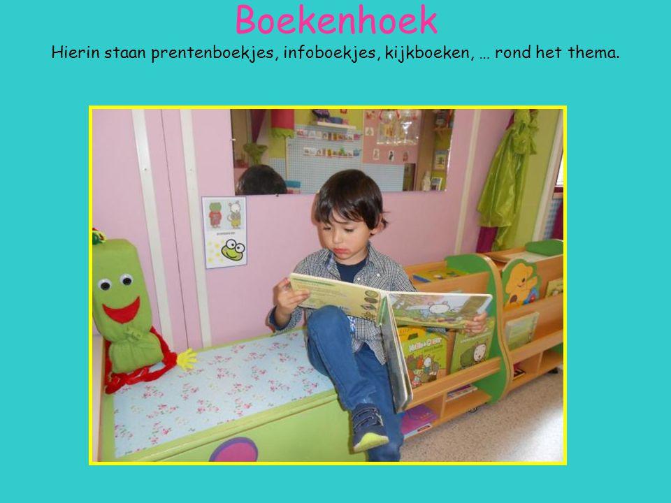 Boekenhoek Hierin staan prentenboekjes, infoboekjes, kijkboeken, … rond het thema.