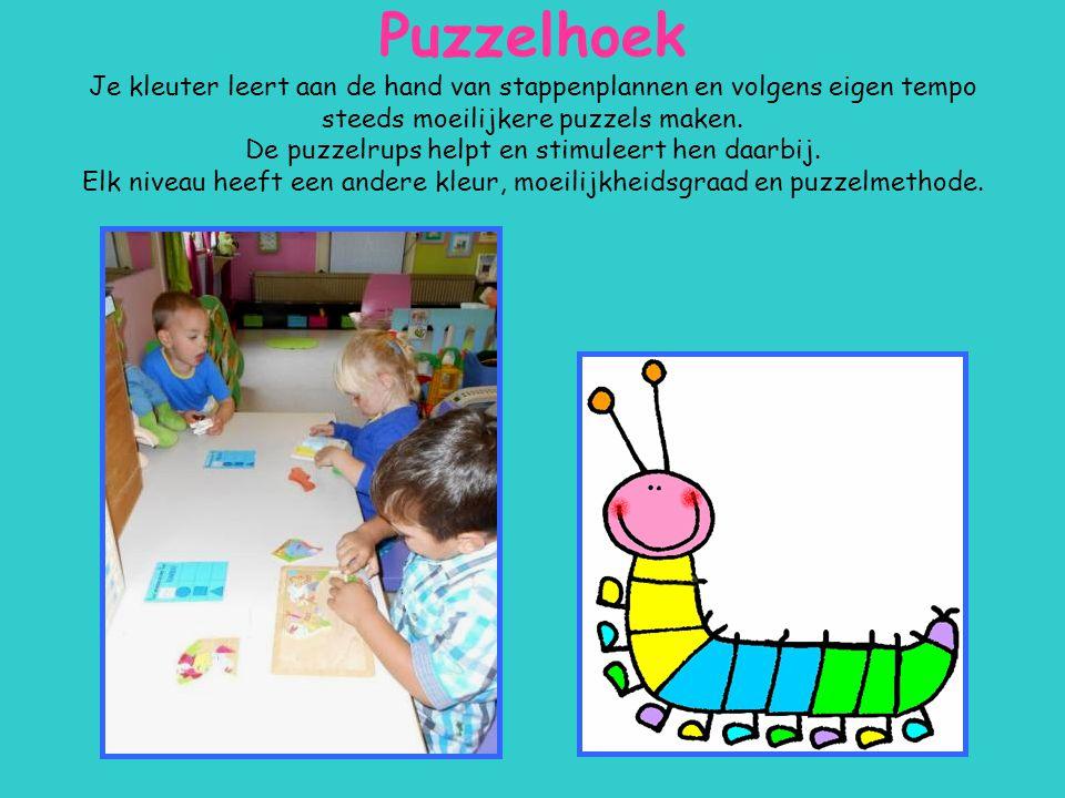 Puzzelhoek Je kleuter leert aan de hand van stappenplannen en volgens eigen tempo steeds moeilijkere puzzels maken. De puzzelrups helpt en stimuleert
