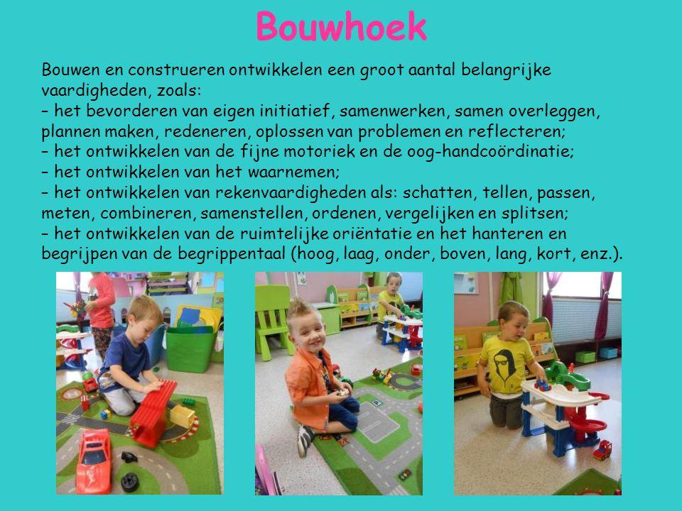 Bouwhoek Bouwen en construeren ontwikkelen een groot aantal belangrijke vaardigheden, zoals: – het bevorderen van eigen initiatief, samenwerken, samen