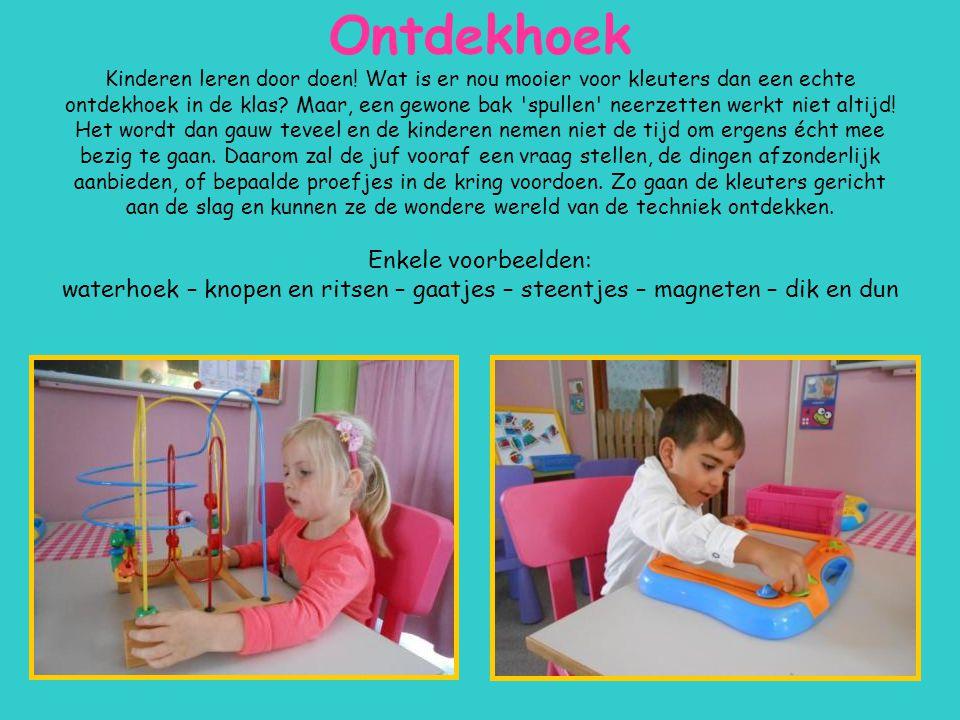 Ontdekhoek Kinderen leren door doen! Wat is er nou mooier voor kleuters dan een echte ontdekhoek in de klas? Maar, een gewone bak 'spullen' neerzetten