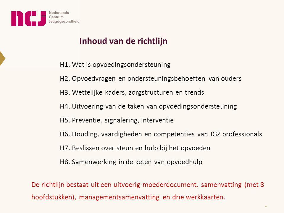 Inhoud van de richtlijn H1. Wat is opvoedingsondersteuning H2. Opvoedvragen en ondersteuningsbehoeften van ouders H3. Wettelijke kaders, zorgstructure