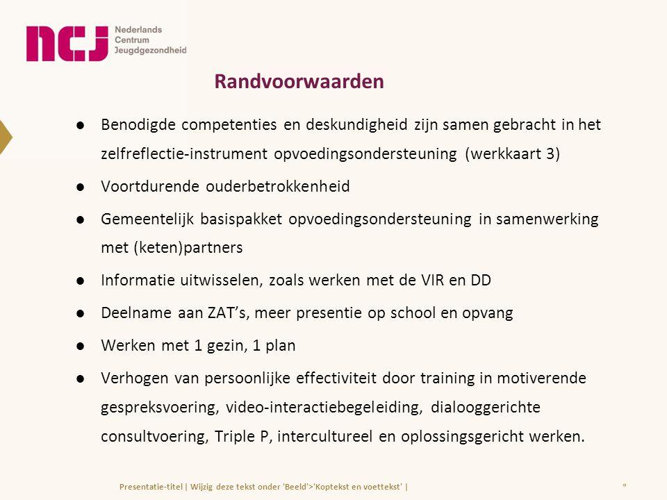Randvoorwaarden ●Benodigde competenties en deskundigheid zijn samen gebracht in het zelfreflectie-instrument opvoedingsondersteuning (werkkaart 3) ●Vo