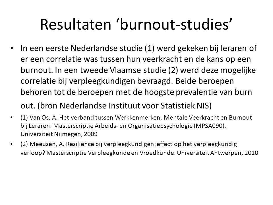 Resultaten 'burnout-studies' In een eerste Nederlandse studie (1) werd gekeken bij leraren of er een correlatie was tussen hun veerkracht en de kans o