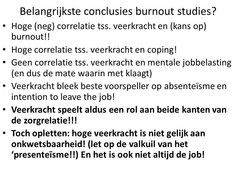 Belangrijkste conclusies burnout studies? Hoge (neg) correlatie tss. veerkracht en (kans op) burnout!! Hoge correlatie tss. veerkracht en coping! Geen