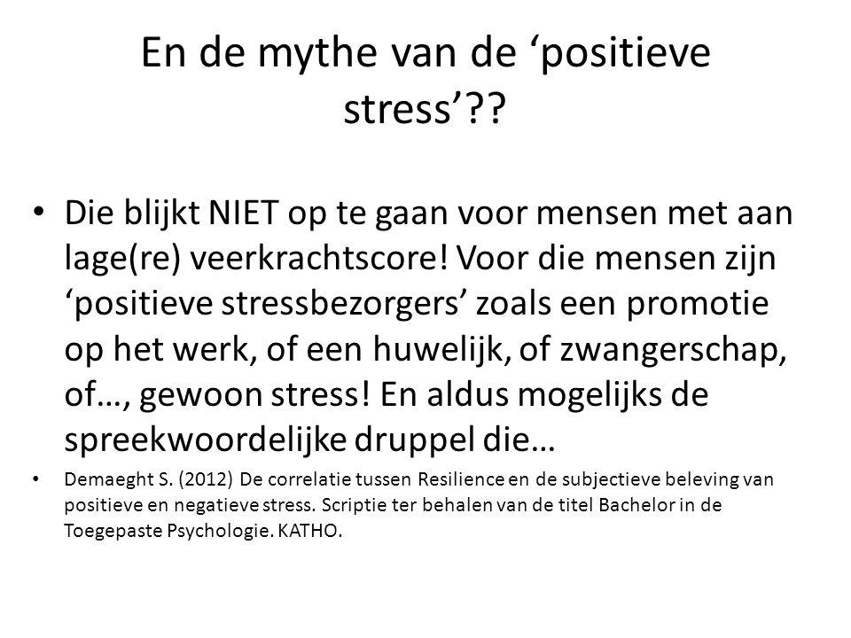 En de mythe van de 'positieve stress'?? Die blijkt NIET op te gaan voor mensen met aan lage(re) veerkrachtscore! Voor die mensen zijn 'positieve stres