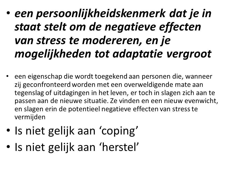 een persoonlijkheidskenmerk dat je in staat stelt om de negatieve effecten van stress te modereren, en je mogelijkheden tot adaptatie vergroot een eig