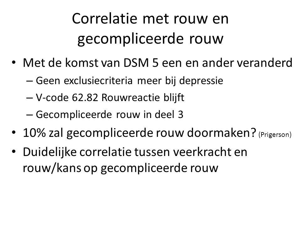 Correlatie met rouw en gecompliceerde rouw Met de komst van DSM 5 een en ander veranderd – Geen exclusiecriteria meer bij depressie – V-code 62.82 Rou