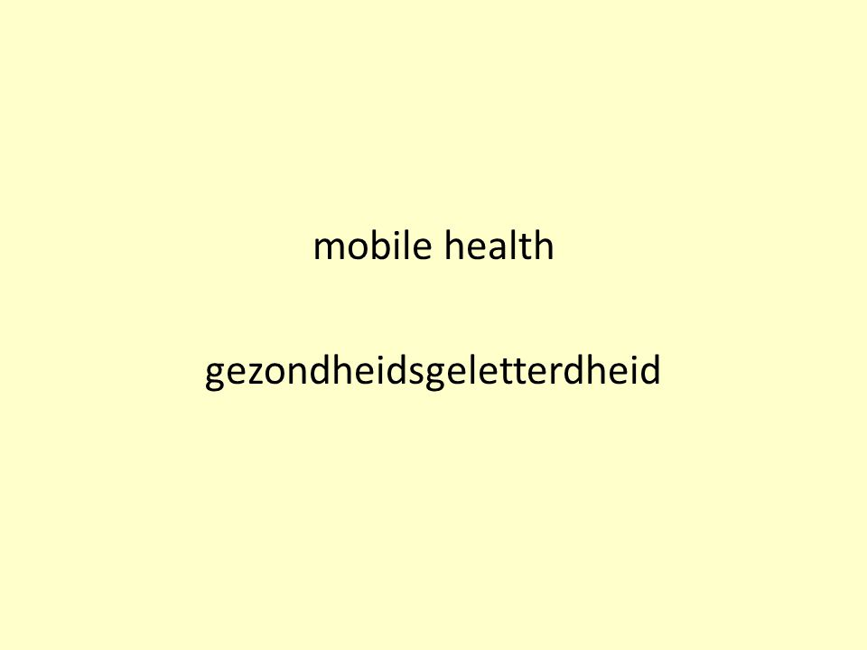mobile health gezondheidsgeletterdheid