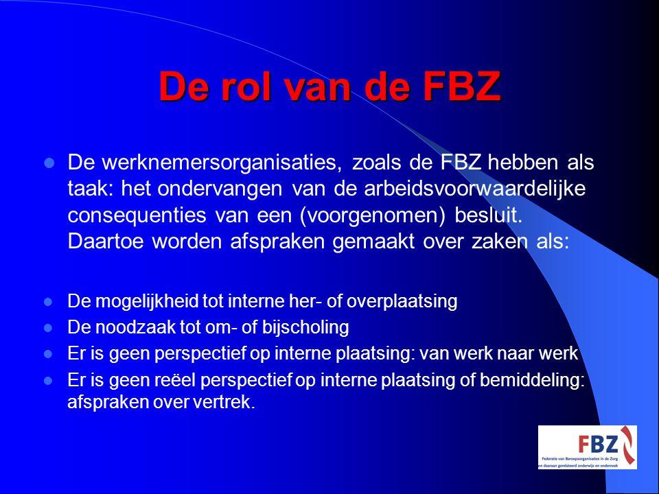 De rol van de FBZ De werknemersorganisaties, zoals de FBZ hebben als taak: het ondervangen van de arbeidsvoorwaardelijke consequenties van een (voorge