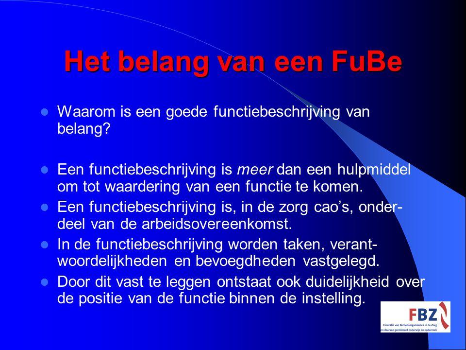 Het belang van een FuBe Waarom is een goede functiebeschrijving van belang? Een functiebeschrijving is meer dan een hulpmiddel om tot waardering van e