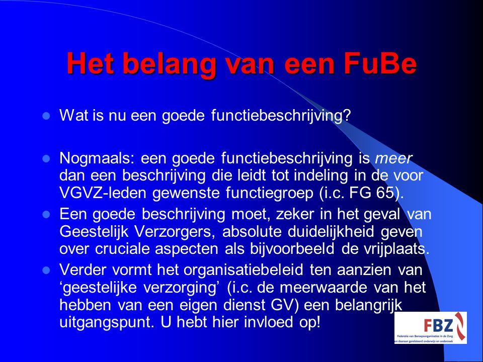 Het belang van een FuBe Wat is nu een goede functiebeschrijving? Nogmaals: een goede functiebeschrijving is meer dan een beschrijving die leidt tot in