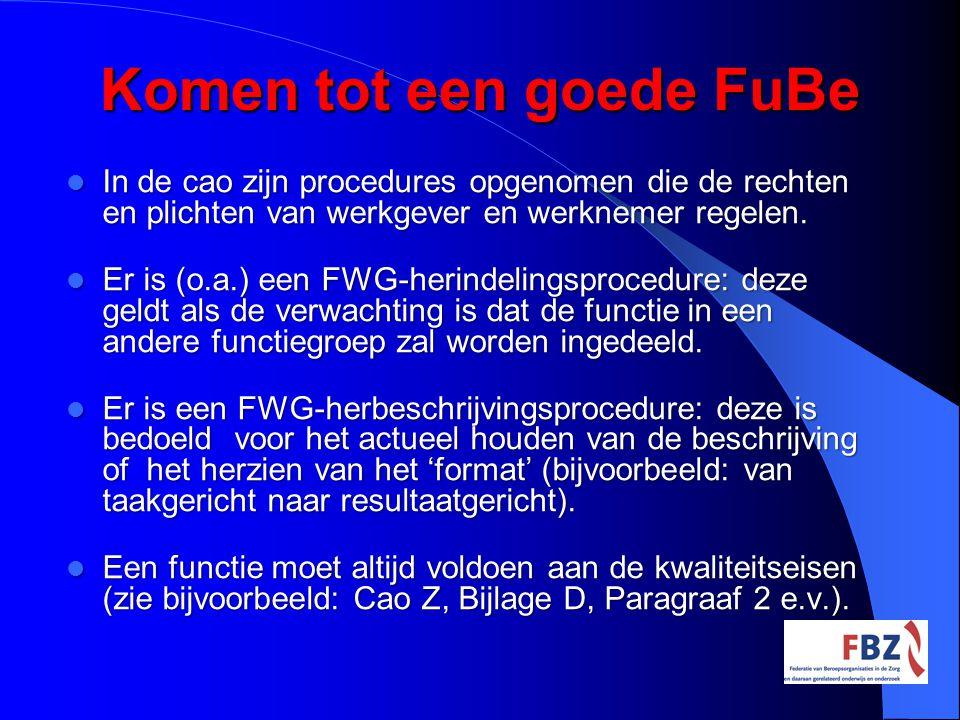 Komen tot een goede FuBe In de cao zijn procedures opgenomen die de rechten en plichten van werkgever en werknemer regelen. In de cao zijn procedures