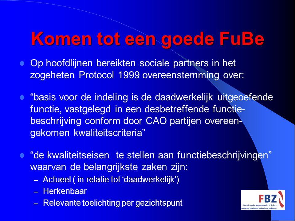 """Komen tot een goede FuBe Op hoofdlijnen bereikten sociale partners in het zogeheten Protocol 1999 overeenstemming over: """"basis voor de indeling is de"""