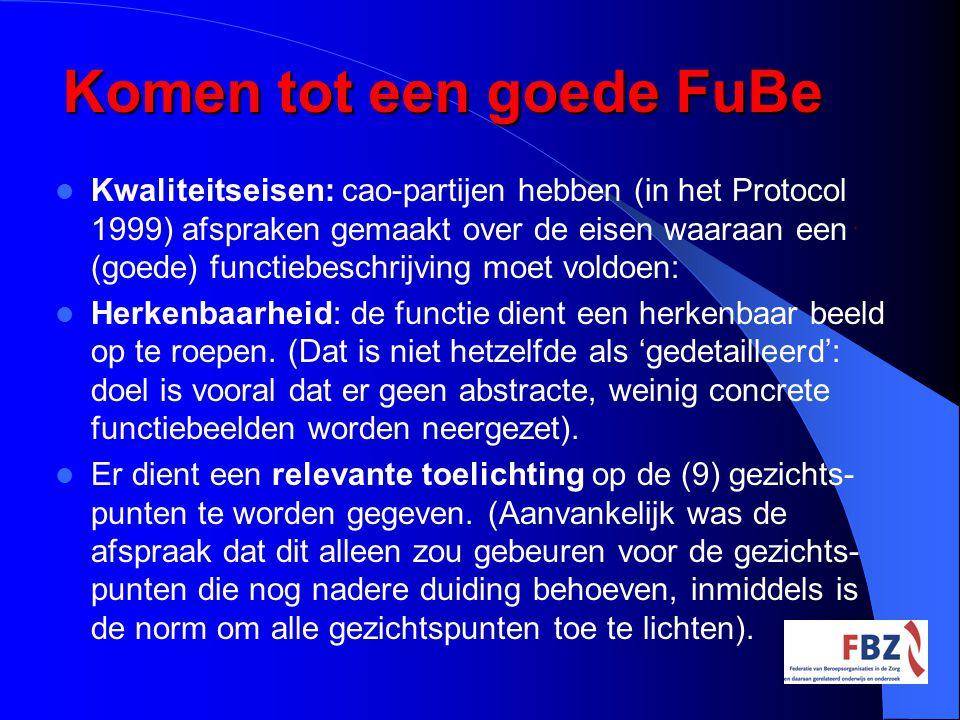Komen tot een goede FuBe Kwaliteitseisen: cao-partijen hebben (in het Protocol 1999) afspraken gemaakt over de eisen waaraan een (goede) functiebeschr