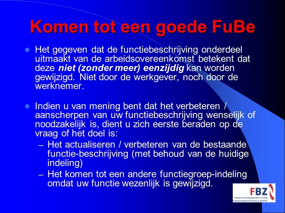 Komen tot een goede FuBe Het gegeven dat de functiebeschrijving onderdeel uitmaakt van de arbeidsovereenkomst betekent dat deze niet (zonder meer) een