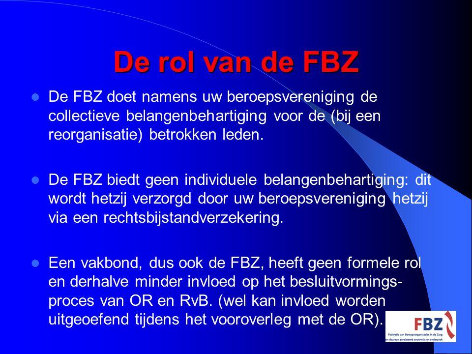 De rol van de FBZ De werknemersorganisaties, zoals de FBZ hebben als taak: het ondervangen van de arbeidsvoorwaardelijke consequenties van een (voorgenomen) besluit.