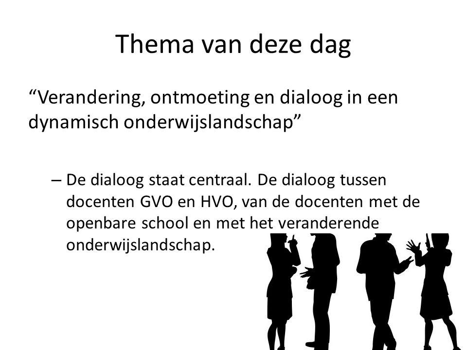 """Thema van deze dag """"Verandering, ontmoeting en dialoog in een dynamisch onderwijslandschap"""" – De dialoog staat centraal. De dialoog tussen docenten GV"""