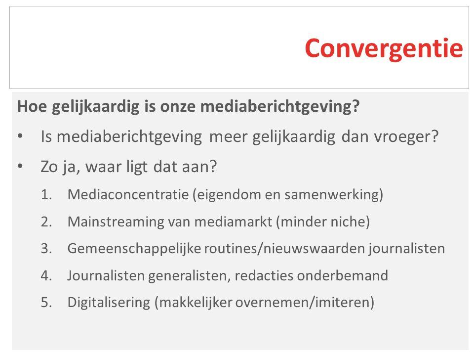 Hoe gelijkaardig is onze mediaberichtgeving. Is mediaberichtgeving meer gelijkaardig dan vroeger.