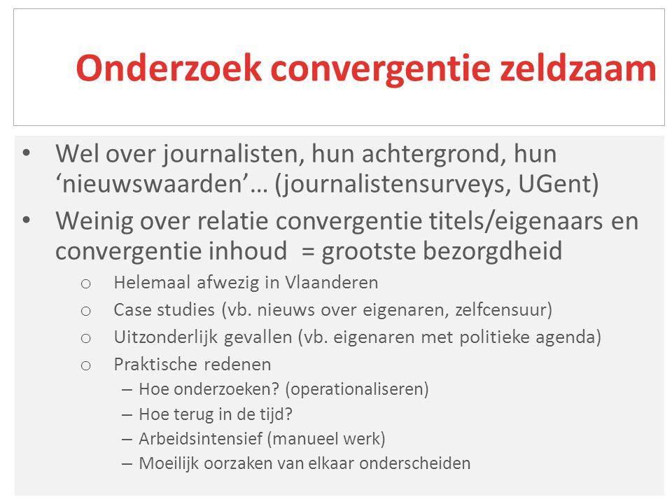 Journalisten (vogel gebekt) Artikel (overgenomen) Thema's (altijd hetzelfde) Nieuwsverhalen (over zelfde feit berichten) Verschillende soorten inhoudelijke diversiteit (en dus convergentie)