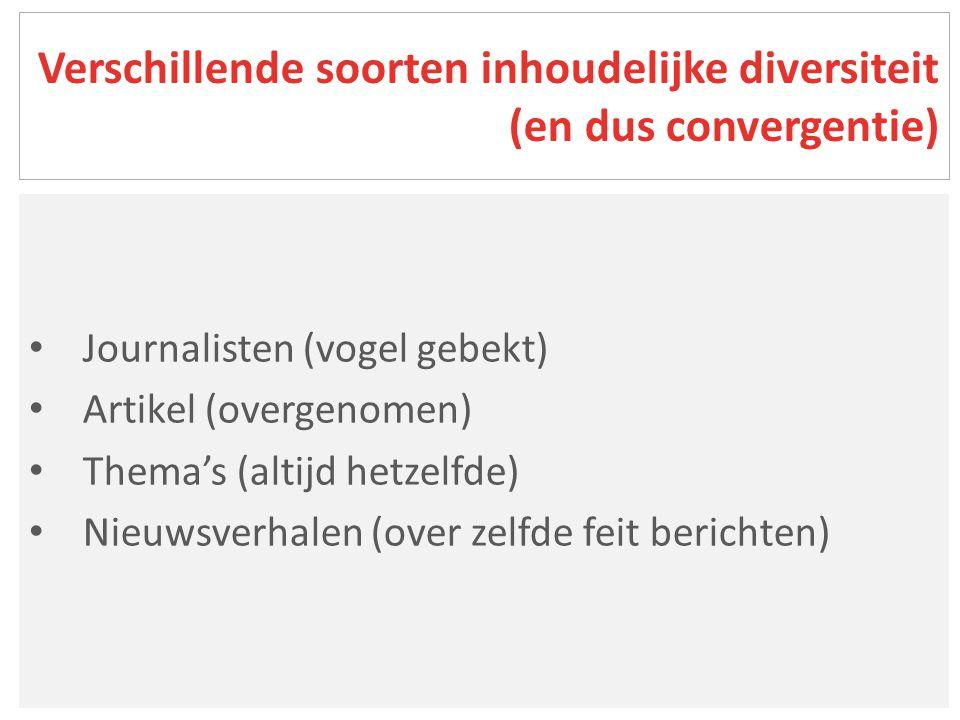 Nieuwsverhaal = gebeurtenis of evenement dat basis van artikel vormt Gemeenschappelijk nieuwsverhaal wanneer thema en plaats van gebeuren zelfde zijn Bijna 8.000 artikels maken 3.199 verhalen: 1.982 (2003) en 1.217 (2013) (4) Nieuwsverhalen