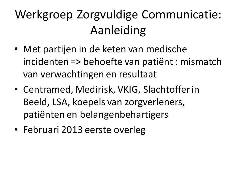 Werkgroep Zorgvuldige Communicatie: Aanleiding Met partijen in de keten van medische incidenten => behoefte van patiënt : mismatch van verwachtingen e
