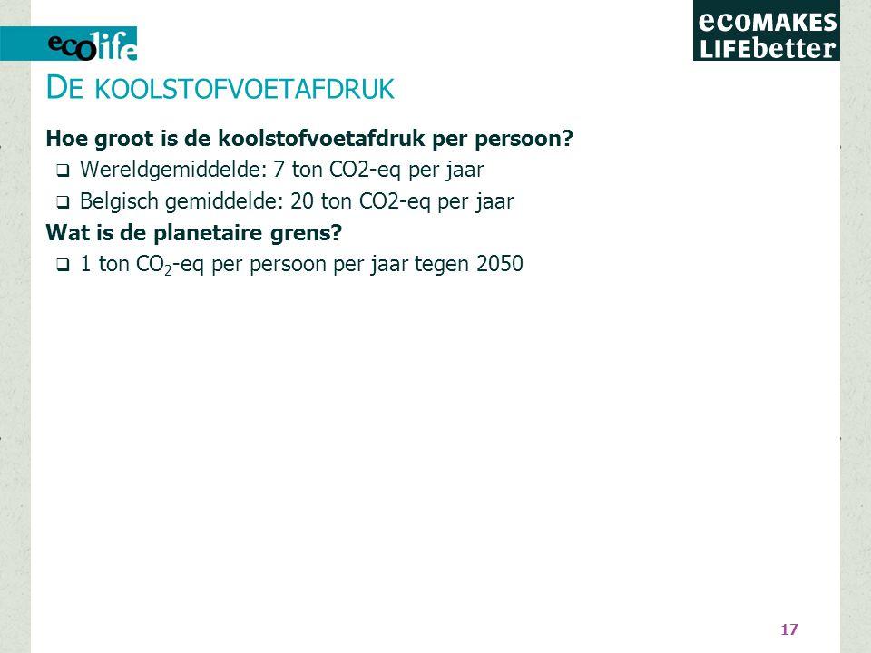 17 Hoe groot is de koolstofvoetafdruk per persoon?  Wereldgemiddelde: 7 ton CO2-eq per jaar  Belgisch gemiddelde: 20 ton CO2-eq per jaar Wat is de p