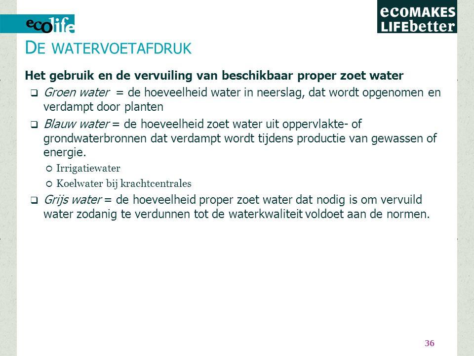 36 Het gebruik en de vervuiling van beschikbaar proper zoet water  Groen water = de hoeveelheid water in neerslag, dat wordt opgenomen en verdampt do