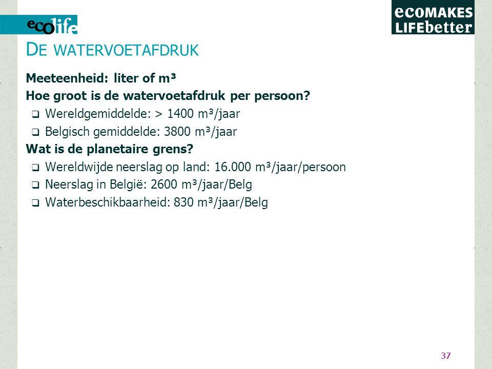 37 Meeteenheid: liter of m³ Hoe groot is de watervoetafdruk per persoon?  Wereldgemiddelde: > 1400 m³/jaar  Belgisch gemiddelde: 3800 m³/jaar Wat is