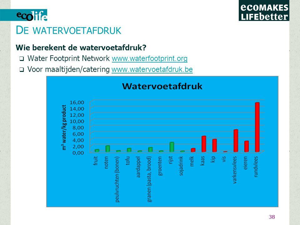 38 D E WATERVOETAFDRUK Wie berekent de watervoetafdruk?  Water Footprint Network www.waterfootprint.org www.waterfootprint.org  Voor maaltijden/cate