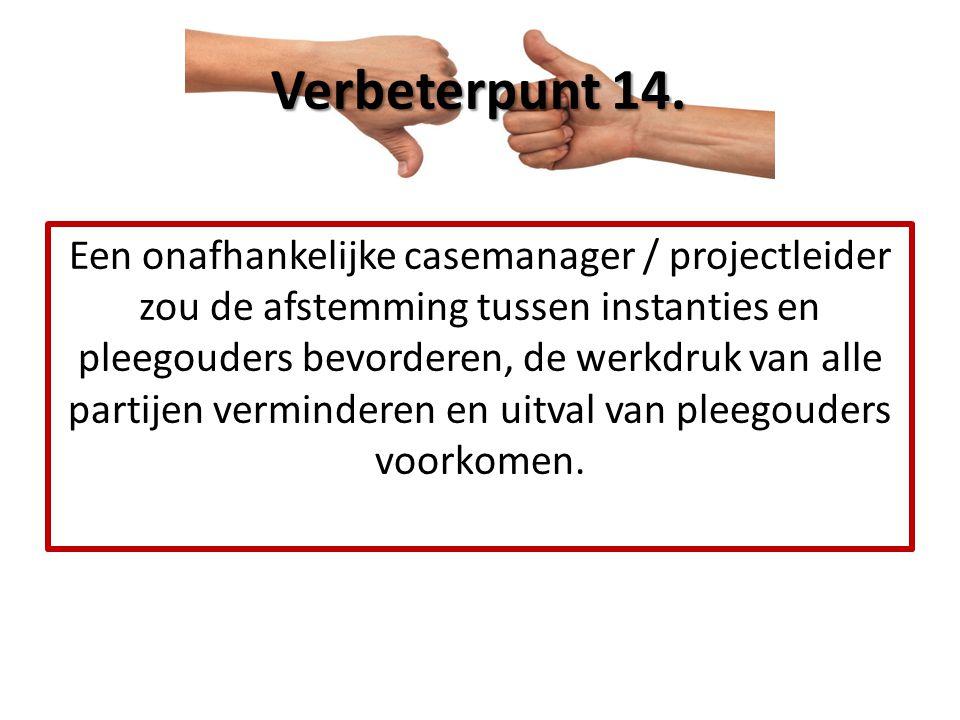 Een onafhankelijke casemanager / projectleider zou de afstemming tussen instanties en pleegouders bevorderen, de werkdruk van alle partijen vermindere