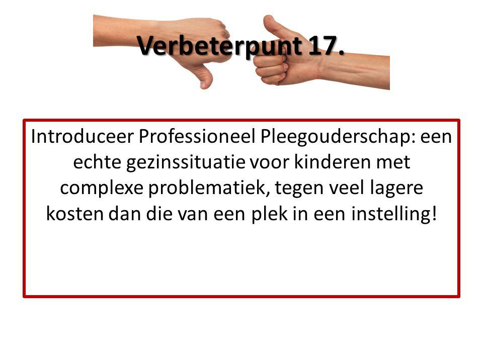 Introduceer Professioneel Pleegouderschap: een echte gezinssituatie voor kinderen met complexe problematiek, tegen veel lagere kosten dan die van een