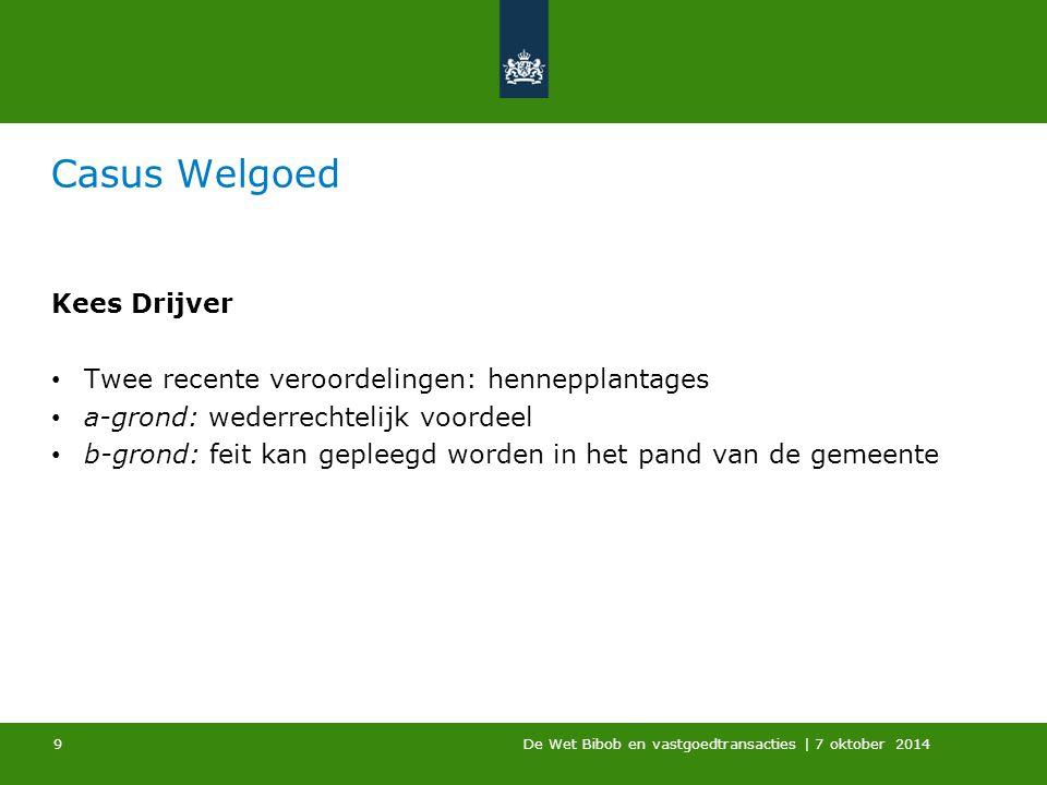 De Wet Bibob en vastgoedtransacties | 7 oktober 2014 Casus Welgoed Kees Drijver Twee recente veroordelingen: hennepplantages a-grond: wederrechtelijk